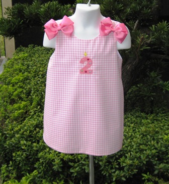 Pink Monogram Boutique Jumper Dress-supplies,commercial,sewing,fabric,pattern,handmade,children custom,dress,pants,applique,vintage,tutorial knitting,neddles,owls,japanese,kawaii,fabric,cotton fabric,cotton,ribbon,bows,hair clips,hair accessories,toddles,baby shower,girl,summer,tunic,wallet,purse,buttons,thread,international shipping,free shipping,flat rate