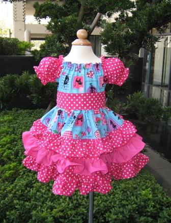 Custom Boutique Triple Ruffles Blue and Hot Pink Pretty Girl Peasant Dress