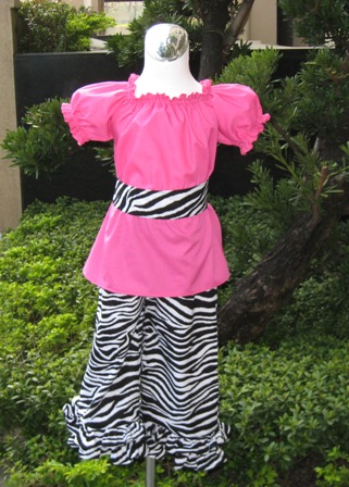 Pageant Custom Boutique Hot Pink and Zebra Peasant Top and Pant Set