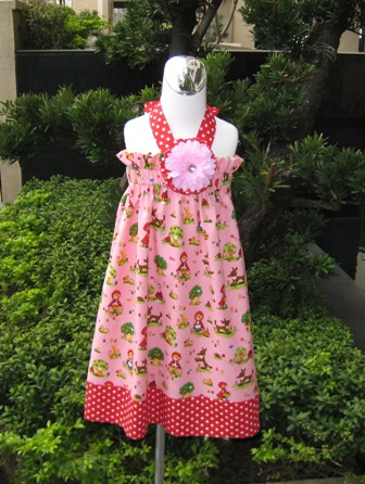 Custom Boutique Pink Little Red Riding Hood Polka Dots Halter Dress