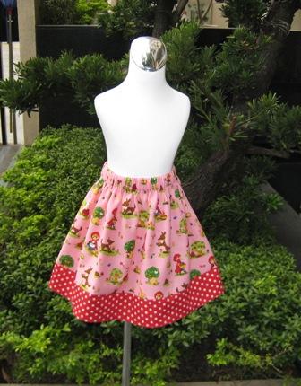 Custom Boutique Pink Little Red Riding Hood Polka Dots Skirt