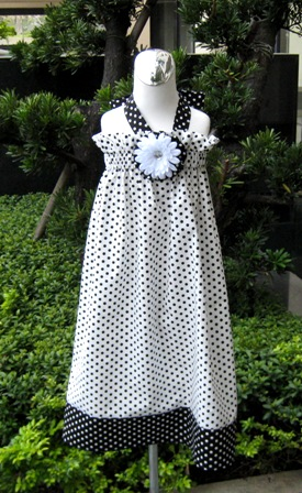 Custom Boutique Polka Dots White and Black Halter Dress