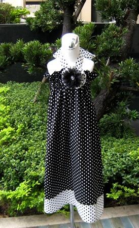 Custom Boutique Polka Dots Black and White Halter Dress