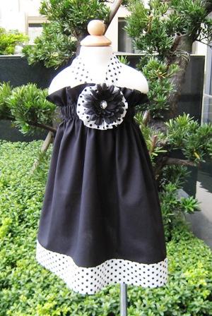 Custom Boutique Black and White Polka Dots Halter Dress