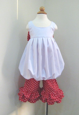 BUBBLE STYLE WHITE TOP AND A RED POLKA DOTS PANT