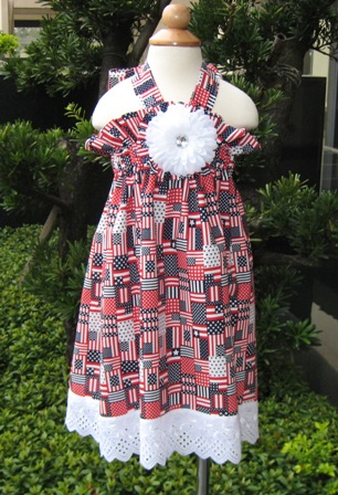 CUSTOM BOUTIQUE RED WHITE AND BLUE HALTER DRESS