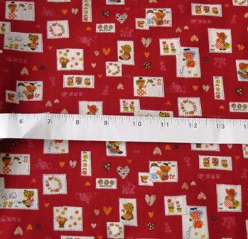 RED SUNBONNET JAPANESE COTTON FABRIC-supplies,commercial,sewing,fabric,pattern,handmade,children custom,dress,pants,applique,vintage,tutorial knitting,neddles,owls,japanese,kawaii,fabric,cotton fabric,cotton,ribbon,bows,hair clips,hair accessories,toddles,baby shower,girl,summer,tunic,wallet,purse,buttons,thread,international shipping,free shipping,flat rate