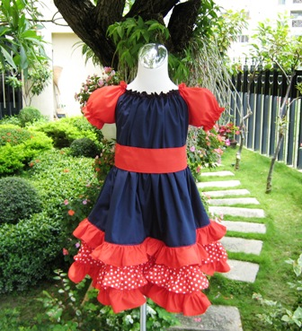 Custom Boutique Triple Ruffles Red White and Blue Peasant Dress