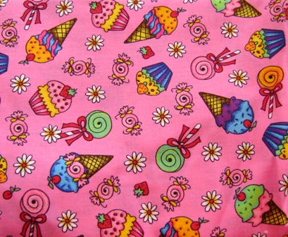 PINK CUPCAKE CANDY ICE CREAM CONE JAPANESE COTTON FABRIC-supplies,commercial,sewing,fabric,pattern,handmade,children custom,dress,pants,applique,vintage,tutorial knitting,neddles,owls,japanese,kawaii,fabric,cotton fabric,cotton,ribbon,bows,hair clips,hair accessories,toddles,baby shower,girl,summer,tunic,wallet,purse,buttons,thread,international shipping,free shipping,flat rate