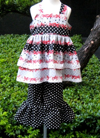Custom Boutique Double Ruffles Hearts and Bows set