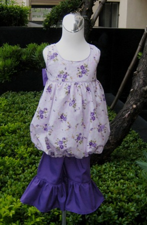 Sweet Bubble Style Purple Flowers Top Purple Ruffles Pant