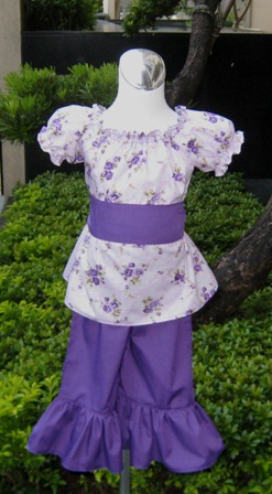 Pageant Custom Boutique Purple Flowers Peasant Top and Pant Set .
