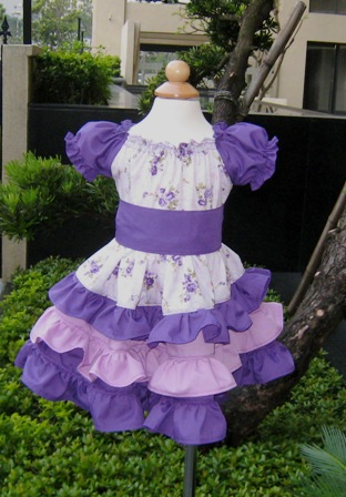 Custom Boutique Triple Ruffles Purple Flowers Peasant Dress