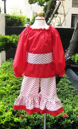 Pageant Custom Boutique Red And White Peasant Top Set