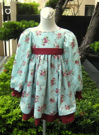Long Sleeve Green And Burgundy Flowers Dress