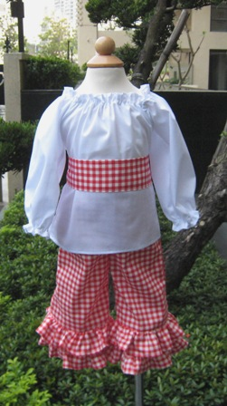 Pageant Custom Boutique Red Gingham And White Peasant Top Set
