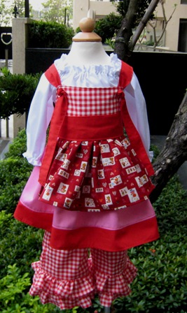 Pagean Custom Boutique Sunbonnet Knot Dress Top And Pant Outfit-pageant dress,back to school outfit,disney dress,knot dress,gingham pant,peasant top,sash