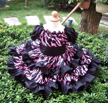 Triple Ruffle Black And Pink Zebra Print Peasant Dress