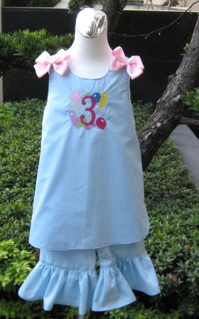 Light Blue Polka Dots Monogram Boutique Jumper A Line Dress And Pant Outfit