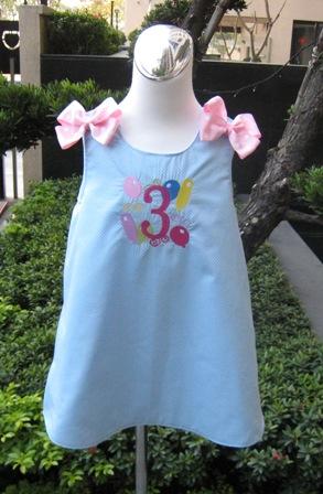 Light Blue Polka Dots Monogram Boutique Jumper A Line Dress