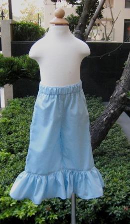 Small Polka Dots Light Blue Ruffle Pant