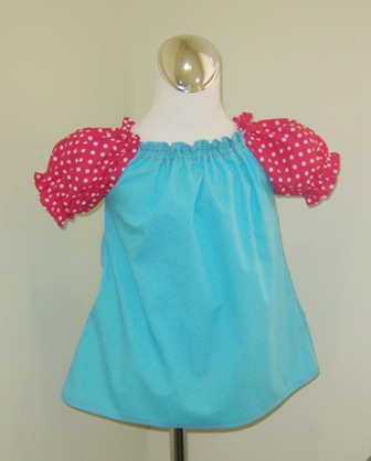 Aqua And Hot Pink Polka Dots Peasant Top