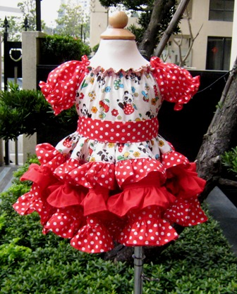Red Polka Dots Panda Triple Ruffle Dress