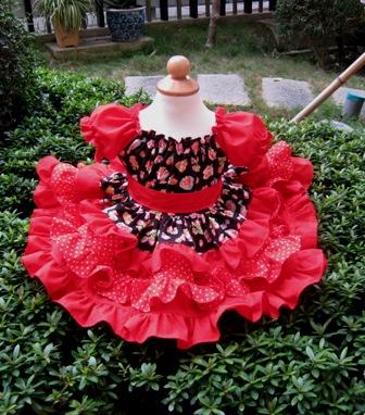 Sweet Strawberry Red Polka Dots Triple Ruffle Peasant Dress