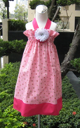 Custom Boutique Gingham Pink And Hot Pink Polka Dots Halter Dress-summer,spring,Easter,Disney outfit,back to school,polka dots,peasant top,sundress,rumba pant,pillowcase dress,custom made,pageant dress,halter dress,flower dress,made to order dress,