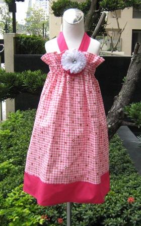 Custom Boutique Gingham Pink And Hot Pink Polka Dots Halter Dress