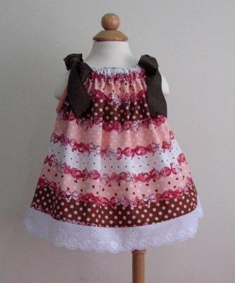 Pink Brown Polka Dots And Bows White Lace Pillowcase Dress