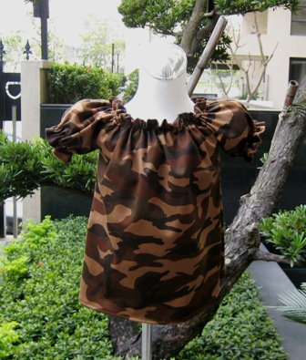 Camouflage Brown Peasant Top Custom Boutique 12M To 7-supplies,commercial,sewing,fabric,pattern,handmade,children custom,dress,pants,applique,vintage,tutorial knitting,neddles,owls,japanese,kawaii,fabric,cotton fabric,cotton,ribbon,bows,hair clips,hair accessories,toddles,baby shower,girl,summer,tunic,wallet,purse,buttons,thread,international shipping,free shipping,flat rate