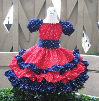 Triple Ruffle Patriotic Red Blue And White Stars Peasant Dress