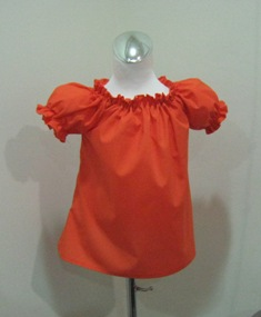 Orange Peasant Top Custom Boutique 12M To 7-Orange girl peasant top, girl ruffle top, toddler top, infant top, little girl orange top, Halloween girl top