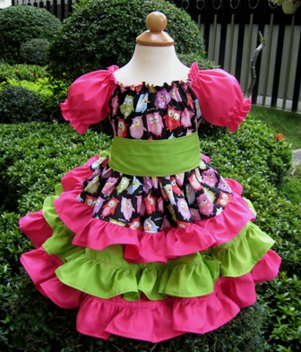 Triple Ruffle Hot Pink And Green Owls Peasant Dress