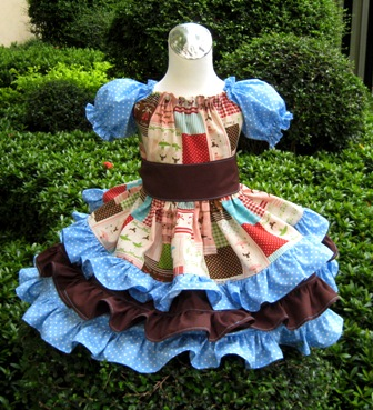 Custom Boutique Triple Ruffle Blue Polka Dots And Brown Ballerina Peasant Dress-Twirly dress,twirly skirt,ruffle dress,summer dress,back to school,Disney outfit,Easter dress,Christmas dress,Custom order,Pageant dress,