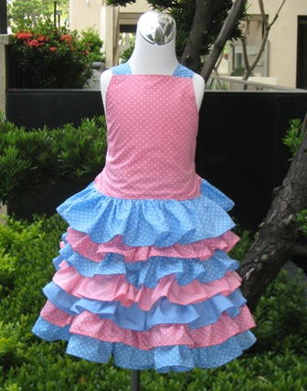 Pink And Blue Polka Dots Top And Ruffle Skirt