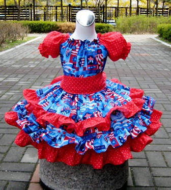 Patriotic Red White And Blue Triple Ruffle Peasant Dress