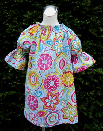 Retro Flowers Peasant Dress-handmade,dress,peasant tops,ruffles pant,pageant dress,supplies,commercial,sewing,fabric,pattern,children custom,dress,pants,applique,vintage,tutorial knitting,neddles,owls,apanese,kawaii,fabric,cotton fabric,cotton,ribbon,bows,hair clips,hair accessories,toddles,baby shower,girl,summer,tunic,wallet,purse,buttons,thread,international shipping,free shipping,flat rate