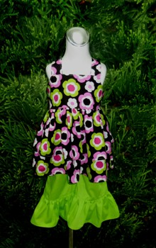 Custom Boutique Green And Pink Double Ruffle Knot Top Set
