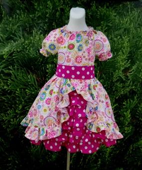 Retro Hot Pink Ruffle Peasant Dress