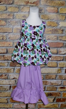 Purple Flowers Sweet Bubble Style Top And Ruffle Pant