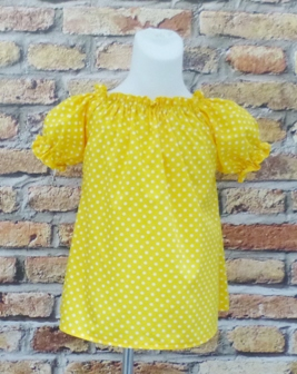 Custom Boutique Yellow Polka Dots Peasant Top-yellow polka dot girl peasant top, yellow and white girl blouse, ruffle top, girl summer top, toddler fall blouse, infant winter top