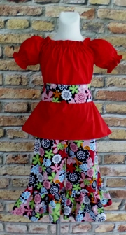 Pageant Custom Boutique Mandalay Flowers Peasant Top And Pant Set