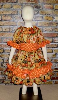 Thankful Pumpkin Patch Triple Ruffle Peasant Dress