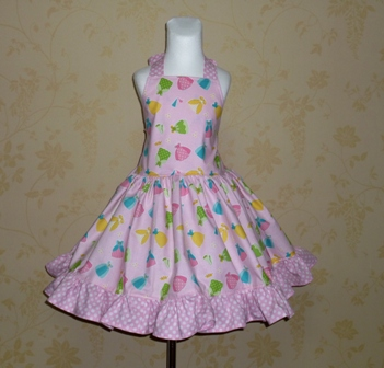Happy Ever After halter dress-summer dress,OOAK,OOC,pageant dress,pink dress,twirly skirt,polka dots,back to school outfit,ryle blake, handmade dress,custom made.