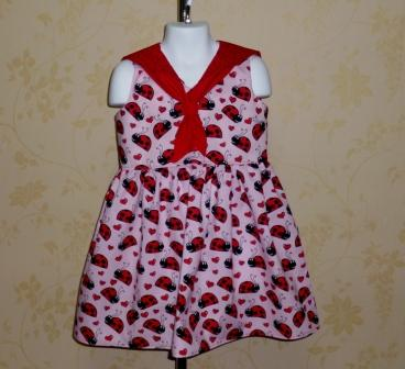 Sailor style Ladybug  Dress-halter dress,twirly,red,white,summer dress,disney dress, ruffle dress,retro,skirt,ooak,ooc,pageant dress,handmade,custom orders,blue,polka dots dress,bow dress,ruffle dress,lady bugs,black polka dots