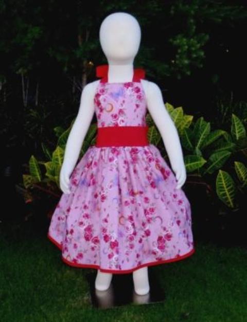 Red roses and butterflies halter dress.-halter dress,summer dress,pageant dress,ooak,ooc,back to school,retro dress,twirly skirt,nie nie,kawaii,japanese fabric.