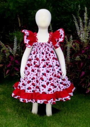 Ladybugs baby doll style dress-halter dress,twirly,red,white,summer dress,disney dress, ruffle dress,retro,skirt,ooak,ooc,pageant dress,handmade,custom orders,blue,polka dots dress,bow dress,ruffle dress