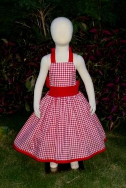 Red gingham halter dress.-halter dress,twirly,red,white,summer dress,disney dress, ruffle dress,retro,skirt,oook,ooc,pageant dress,handmade,custom orders